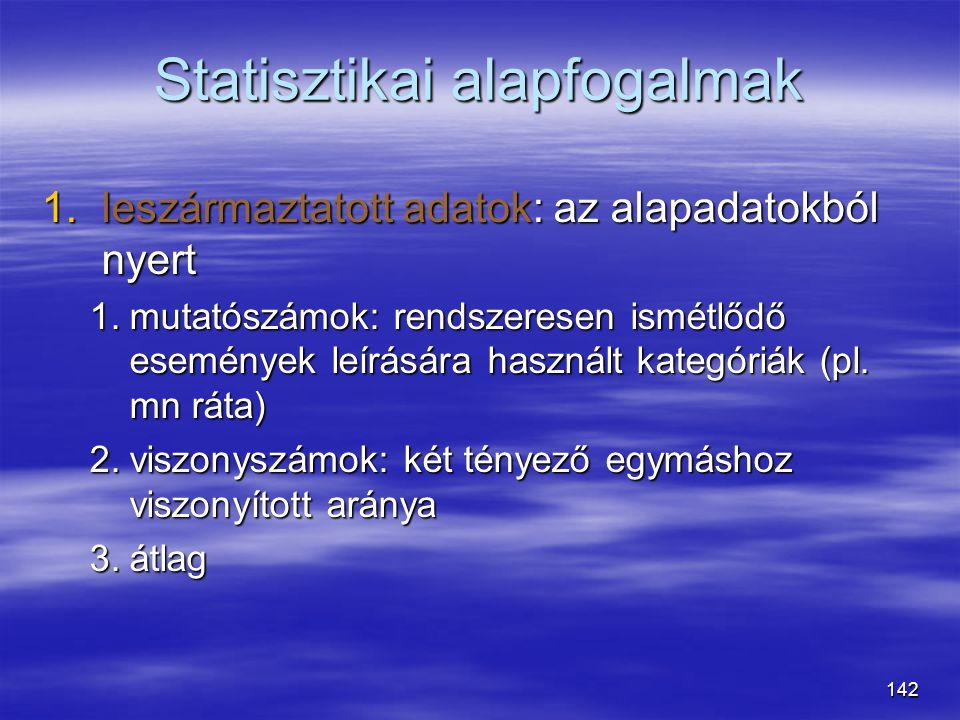 142 Statisztikai alapfogalmak 1.leszármaztatott adatok: az alapadatokból nyert 1.mutatószámok: rendszeresen ismétlődő események leírására használt kat