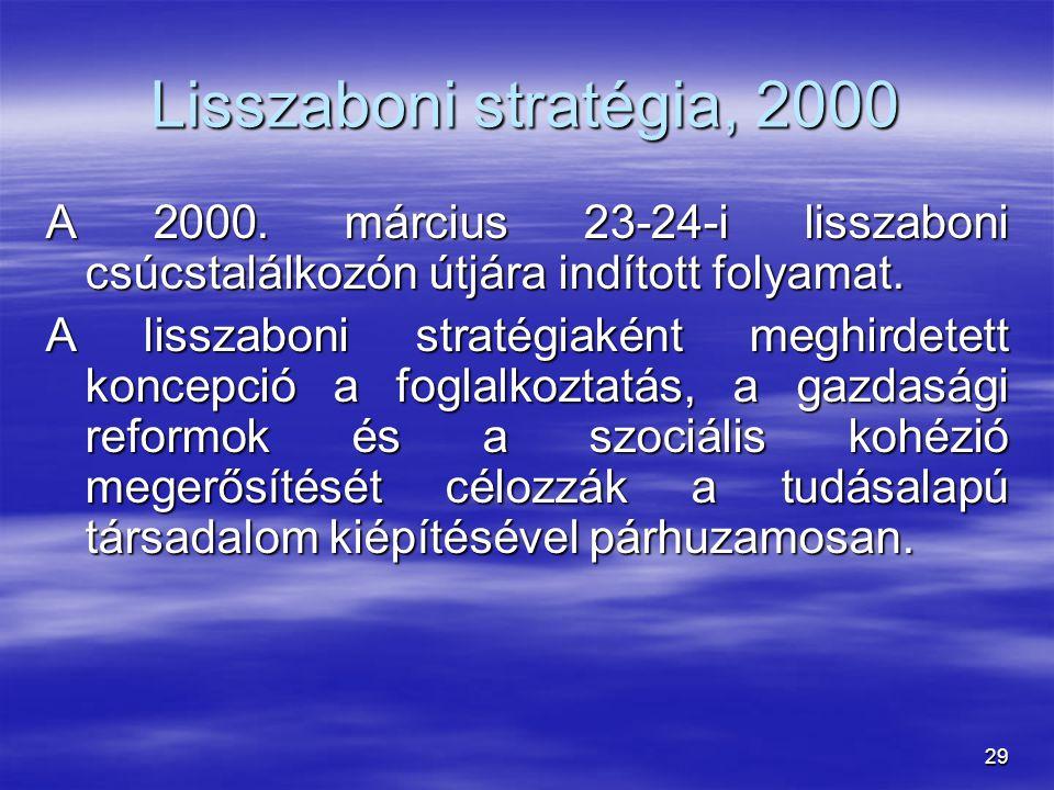 29 A 2000. március 23-24-i lisszaboni csúcstalálkozón útjára indított folyamat. A lisszaboni stratégiaként meghirdetett koncepció a foglalkoztatás, a