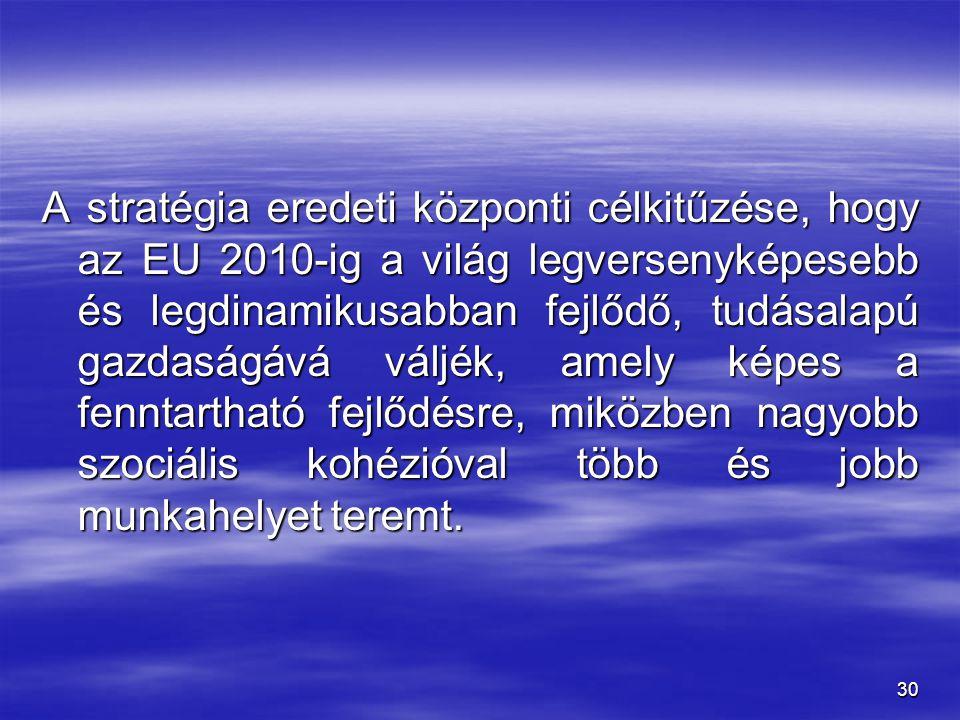 30 A stratégia eredeti központi célkitűzése, hogy az EU 2010-ig a világ legversenyképesebb és legdinamikusabban fejlődő, tudásalapú gazdaságává váljék