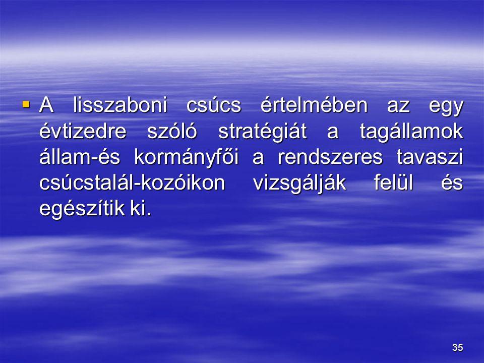 35  A lisszaboni csúcs értelmében az egy évtizedre szóló stratégiát a tagállamok állam-és kormányfői a rendszeres tavaszi csúcstalál-kozóikon vizsgál