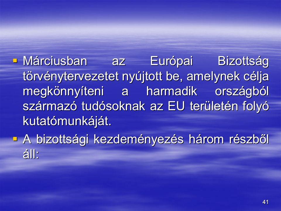 41  Márciusban az Európai Bizottság törvénytervezetet nyújtott be, amelynek célja megkönnyíteni a harmadik országból származó tudósoknak az EU terüle