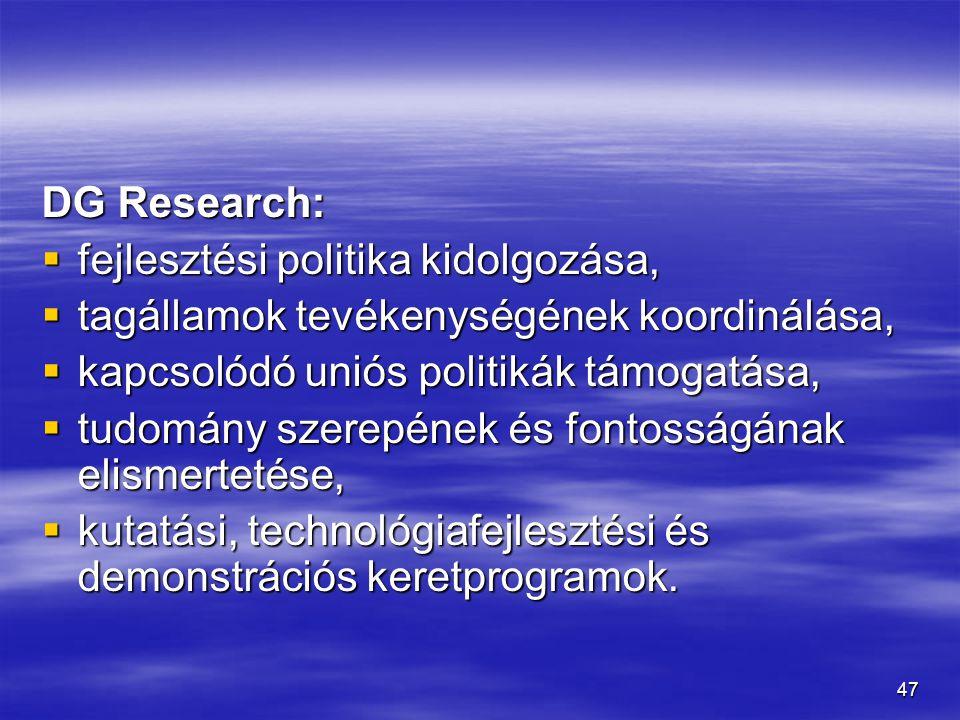 47 DG Research:  fejlesztési politika kidolgozása,  tagállamok tevékenységének koordinálása,  kapcsolódó uniós politikák támogatása,  tudomány sze