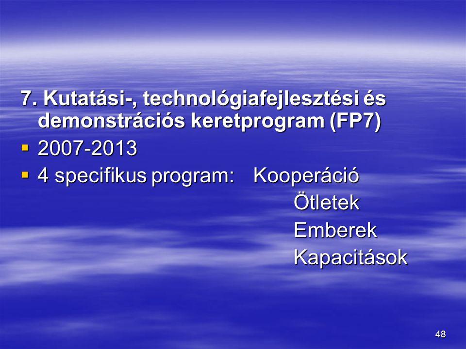 48 7. Kutatási-, technológiafejlesztési és demonstrációs keretprogram (FP7)  2007-2013  4 specifikus program: Kooperáció Ötletek Ötletek Emberek Emb