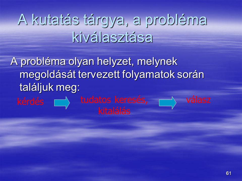 61 A kutatás tárgya, a probléma kiválasztása A probléma olyan helyzet, melynek megoldását tervezett folyamatok során találjuk meg: tudatos keresés, ki
