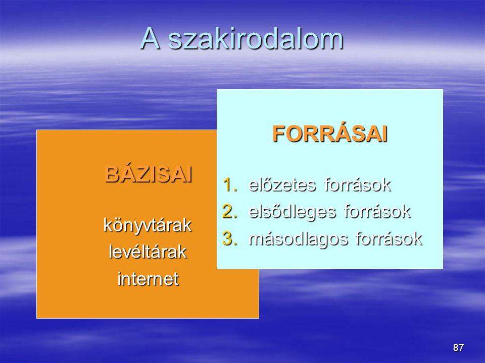 87 A szakirodalom BÁZISAIkönyvtáraklevéltárakinternet FORRÁSAI 1.előzetes források 2.elsődleges források 3.másodlagos források