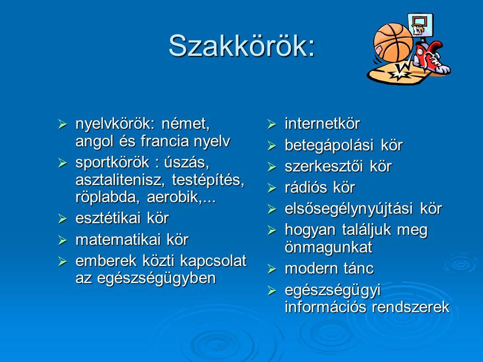 Szakkörök:  nyelvkörök: német, angol és francia nyelv  sportkörök : úszás, asztalitenisz, testépítés, röplabda, aerobik,...  esztétikai kör  matem