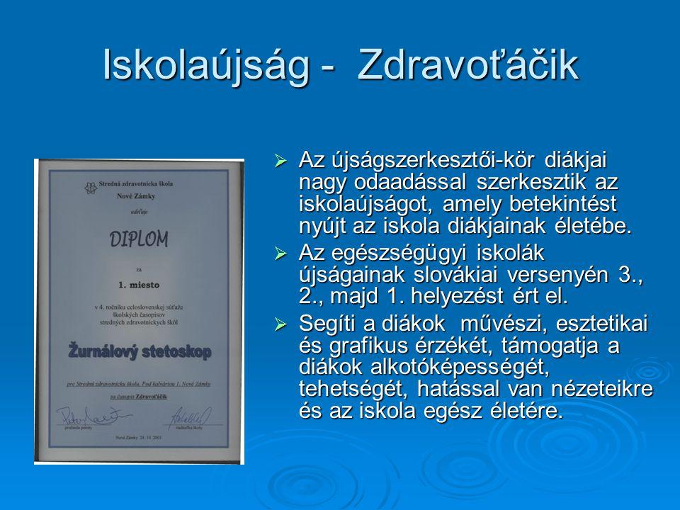 Iskolaújság - Zdravoťáčik  Az újságszerkesztői-kör diákjai nagy odaadással szerkesztik az iskolaújságot, amely betekintést nyújt az iskola diákjainak