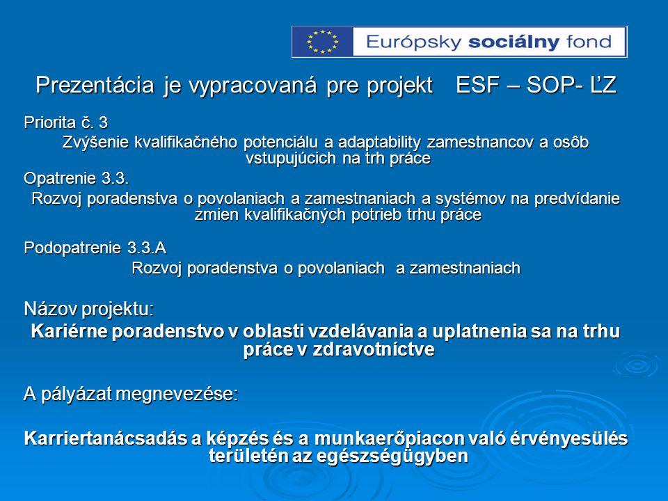 Prezentácia je vypracovaná pre projekt ESF – SOP- ĽZ Priorita č. 3 Zvýšenie kvalifikačného potenciálu a adaptability zamestnancov a osôb vstupujúcich