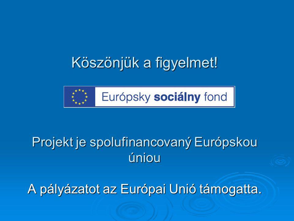 Köszönjük a figyelmet! Projekt je spolufinancovaný Európskou úniou A pályázatot az Európai Unió támogatta.
