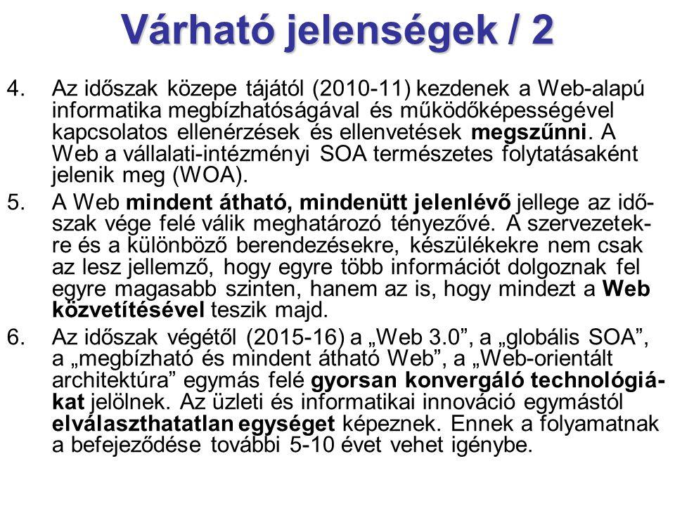 Várható jelenségek / 2 4.Az időszak közepe tájától (2010-11) kezdenek a Web-alapú informatika megbízhatóságával és működőképességével kapcsolatos ellenérzések és ellenvetések megszűnni.