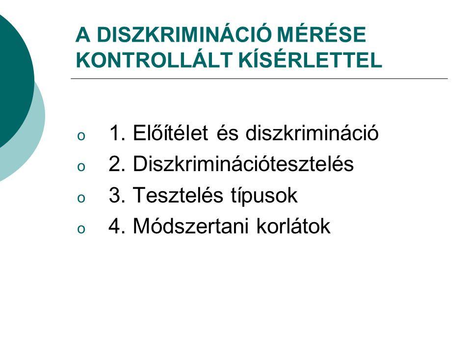 A DISZKRIMINÁCIÓ MÉRÉSE KONTROLLÁLT KÍSÉRLETTEL o 1. Előítélet és diszkrimináció o 2. Diszkriminációtesztelés o 3. Tesztelés típusok o 4. Módszertani