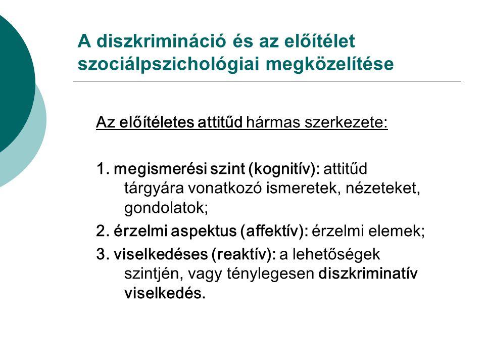 A diszkrimináció és az előítélet szociálpszichológiai megközelítése Az előítéletes attitűd hármas szerkezete: 1. megismerési szint (kognitív): attitűd