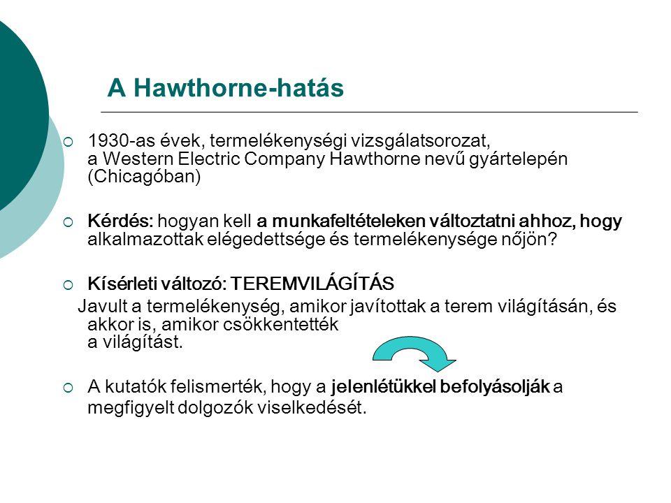 A Hawthorne-hatás  1930-as évek, termelékenységi vizsgálatsorozat, a Western Electric Company Hawthorne nevű gyártelepén (Chicagóban)  Kérdés: hogya