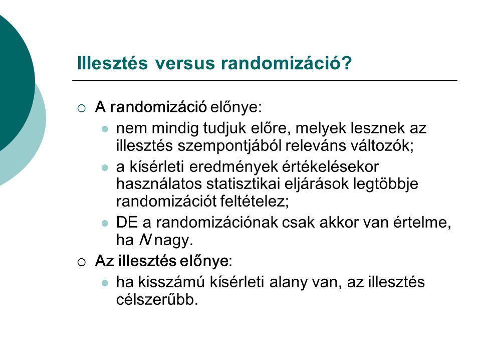 Illesztés versus randomizáció?  A randomizáció előnye:  nem mindig tudjuk előre, melyek lesznek az illesztés szempontjából releváns változók;  a kí