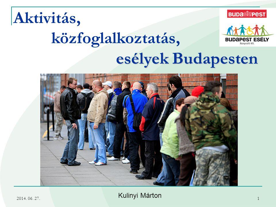 2014. 06. 27.1 Aktivitás, közfoglalkoztatás, esélyek Budapesten Kulinyi Márton