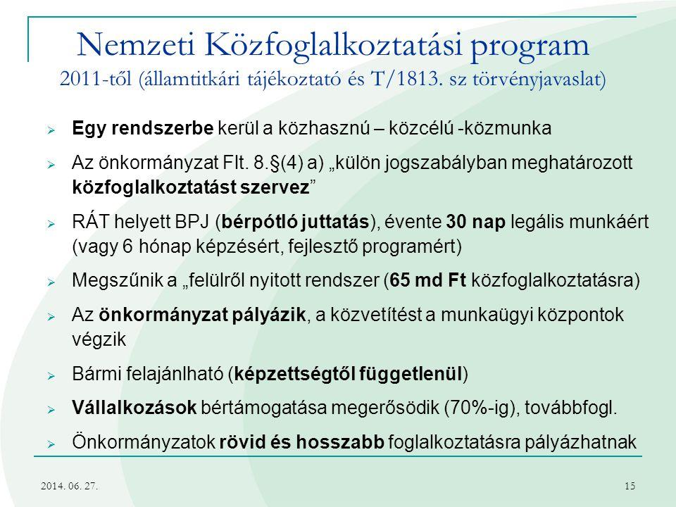 2014. 06. 27.15 Nemzeti Közfoglalkoztatási program 2011-től (államtitkári tájékoztató és T/1813. sz törvényjavaslat)  Egy rendszerbe kerül a közhaszn