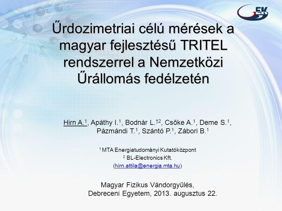 Űrdozimetriai célú mérések a magyar fejlesztésű TRITEL rendszerrel a Nemzetközi Űrállomás fedélzetén Hirn A.