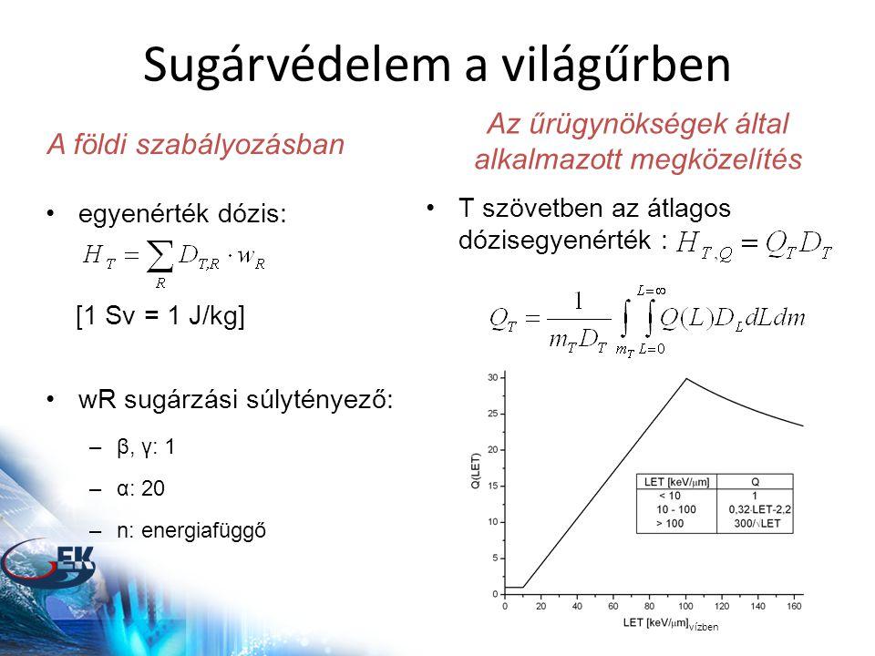 Sugárvédelem a világűrben •egyenérték dózis: [1 Sv = 1 J/kg] •wR sugárzási súlytényező: –β, γ: 1 –α: 20 –n: energiafüggő A földi szabályozásban vízben •T szövetben az átlagos dózisegyenérték : Az űrügynökségek által alkalmazott megközelítés