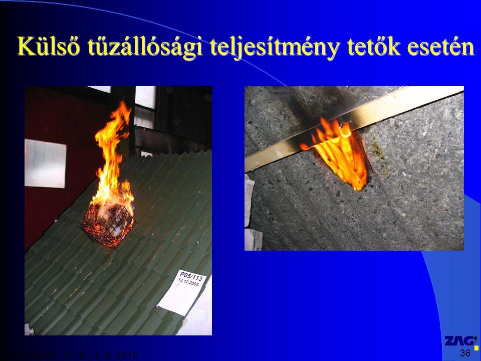 36 VISEGRAD 31. 5 – 1. 6. 2012 Külső tűzállósági teljesítmény tetők esetén