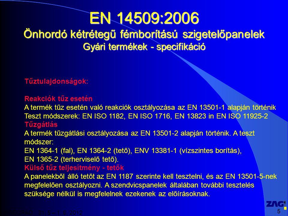 5 VISEGRAD 31. 5 – 1. 6. 2012 EN 14509:2006 Önhordó kétrétegű fémborítású szigetelőpanelek Gyári termékek - specifikáció Tűztulajdonságok: Reakciók tű