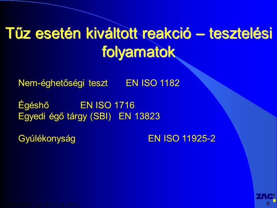 6 VISEGRAD 31. 5 – 1. 6. 2012 Tűz esetén kiváltott reakció – tesztelési folyamatok Nem-éghetőségi teszt EN ISO 1182 Égéshő EN ISO 1716 Egyedi égő tárg