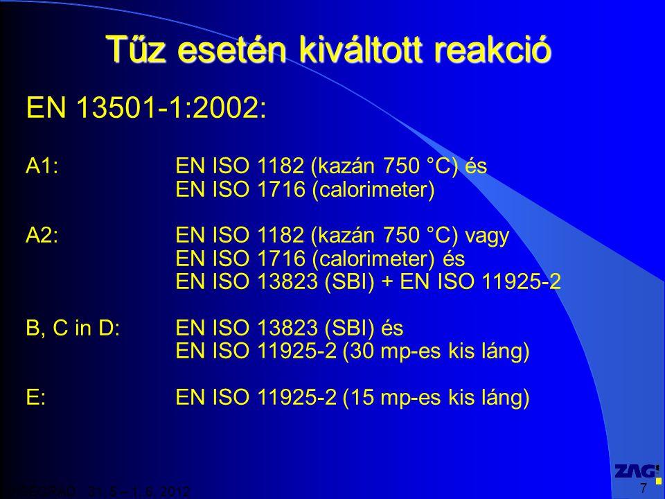 7 VISEGRAD 31. 5 – 1. 6. 2012 Tűz esetén kiváltott reakció EN 13501-1:2002: A1: EN ISO 1182 (kazán 750 °C) és EN ISO 1716 (calorimeter) A2: EN ISO 118