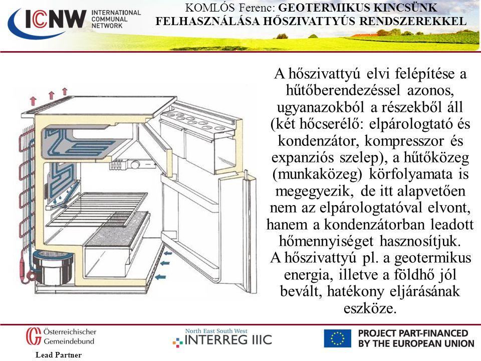 Lead Partner KOMLÓS Ferenc: GEOTERMIKUS KINCSÜNK FELHASZNÁLÁSA HŐSZIVATTYÚS RENDSZEREKKEL A hőszivattyú elvi felépítése a hűtőberendezéssel azonos, ug