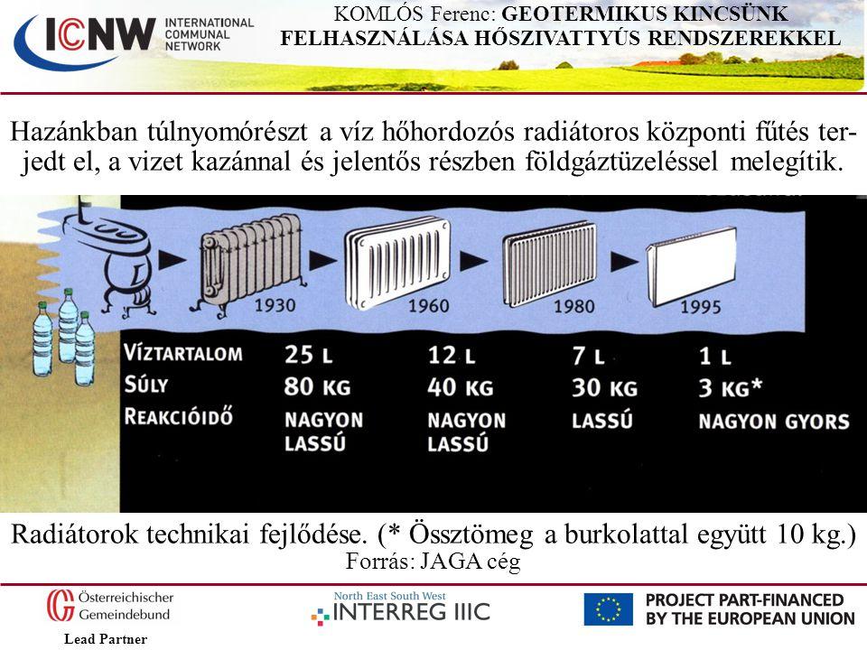 Lead Partner KOMLÓS Ferenc: GEOTERMIKUS KINCSÜNK FELHASZNÁLÁSA HŐSZIVATTYÚS RENDSZEREKKEL Hazánkban túlnyomórészt a víz hőhordozós radiátoros központi