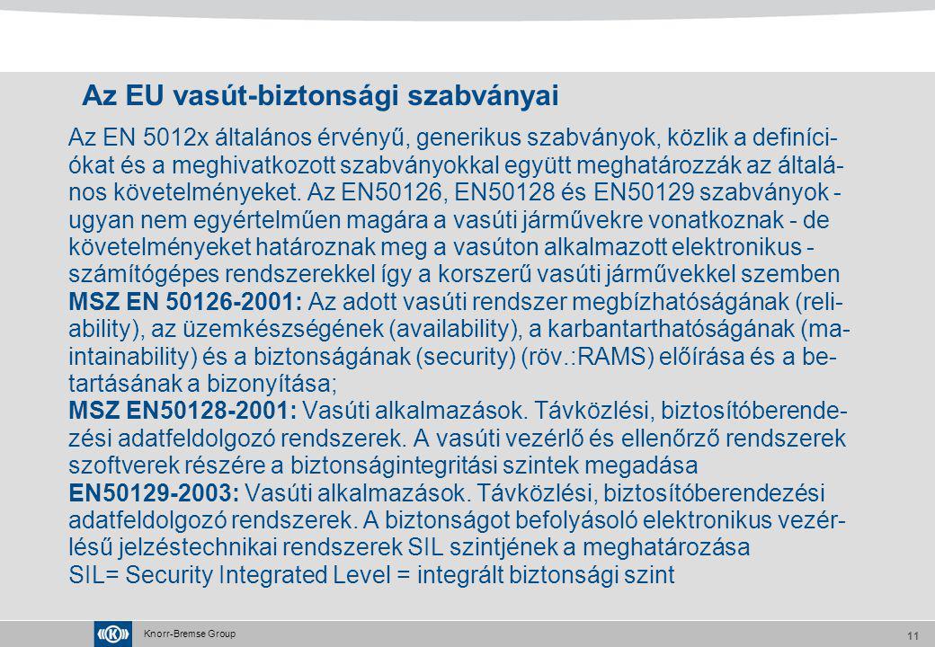 Knorr-Bremse Group 11 Az EU vasút-biztonsági szabványai Az EN 5012x általános érvényű, generikus szabványok, közlik a definíci- ókat és a meghivatkozo