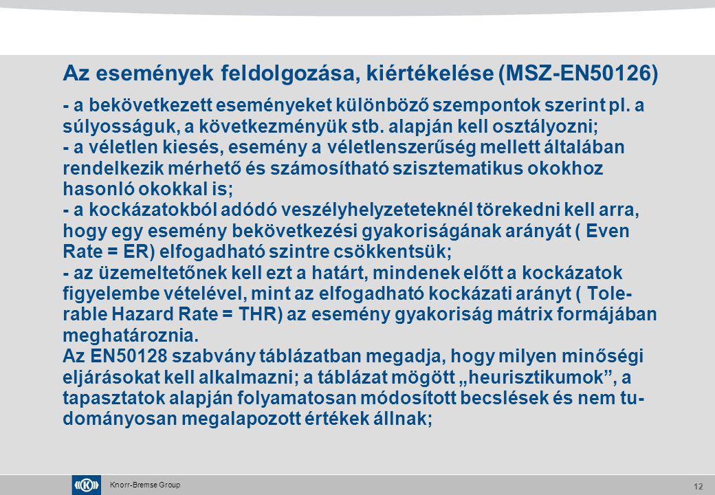 Knorr-Bremse Group 12 Az események feldolgozása, kiértékelése (MSZ-EN50126) - a bekövetkezett eseményeket különböző szempontok szerint pl. a súlyosság