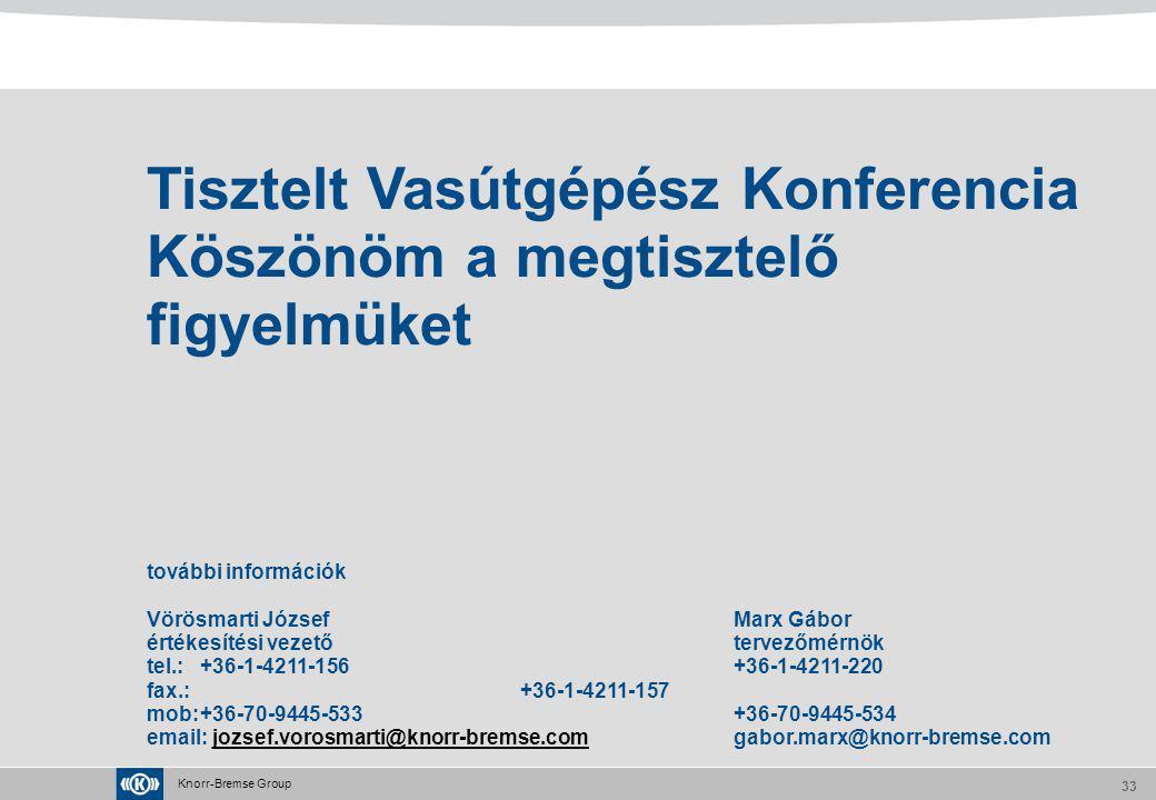 Knorr-Bremse Group 33 Tisztelt Vasútgépész Konferencia Köszönöm a megtisztelő figyelmüket további információk Vörösmarti JózsefMarx Gábor értékesítési