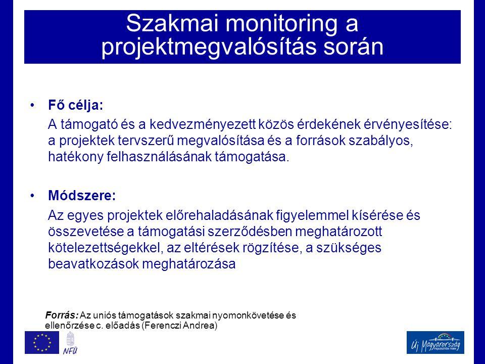 Szakmai monitoring a projektmegvalósítás során •Fő célja: A támogató és a kedvezményezett közös érdekének érvényesítése: a projektek tervszerű megvalósítása és a források szabályos, hatékony felhasználásának támogatása.