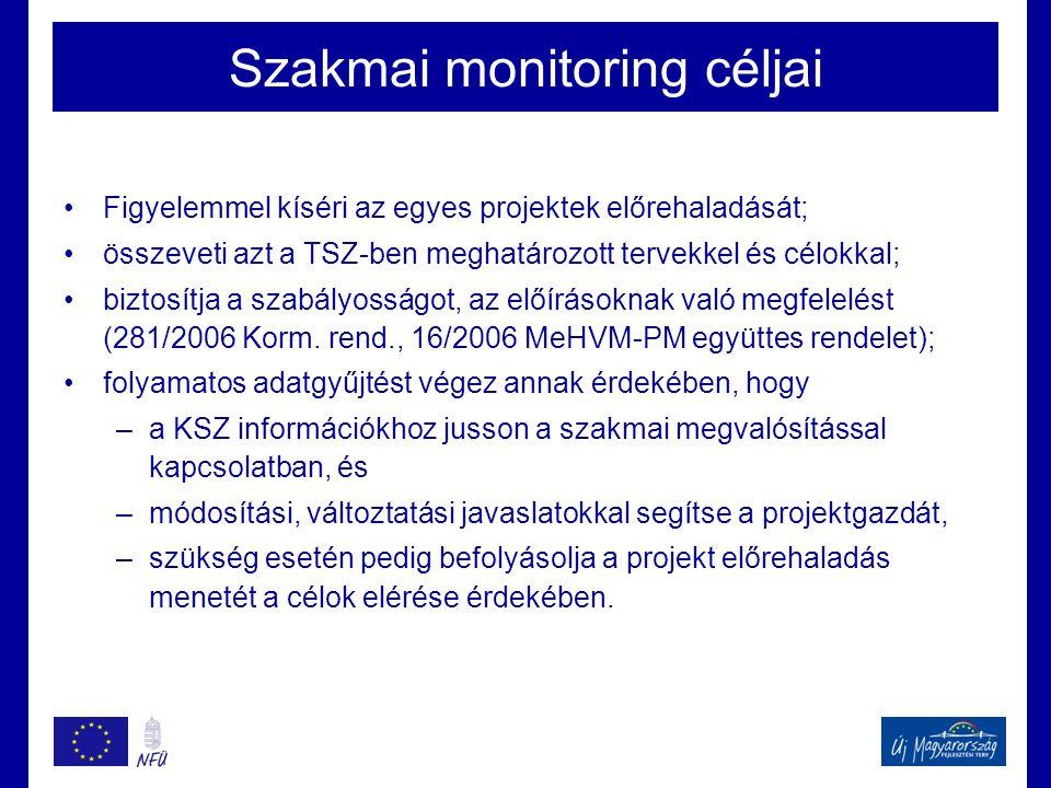 Szakmai monitoring céljai •Figyelemmel kíséri az egyes projektek előrehaladását; •összeveti azt a TSZ-ben meghatározott tervekkel és célokkal; •biztosítja a szabályosságot, az előírásoknak való megfelelést (281/2006 Korm.