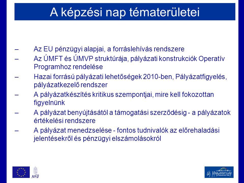 –Az EU pénzügyi alapjai, a forráslehívás rendszere –Az ÚMFT és ÚMVP struktúrája, pályázati konstrukciók Operatív Programhoz rendelése –Hazai forrású pályázati lehetőségek 2010-ben, Pályázatfigyelés, pályázatkezelő rendszer –A pályázatkészítés kritikus szempontjai, mire kell fokozottan figyelnünk –A pályázat benyújtásától a támogatási szerződésig - a pályázatok értékelési rendszere –A pályázat menedzselése - fontos tudnivalók az előrehaladási jelentésekről és pénzügyi elszámolásokról A képzési nap tématerületei