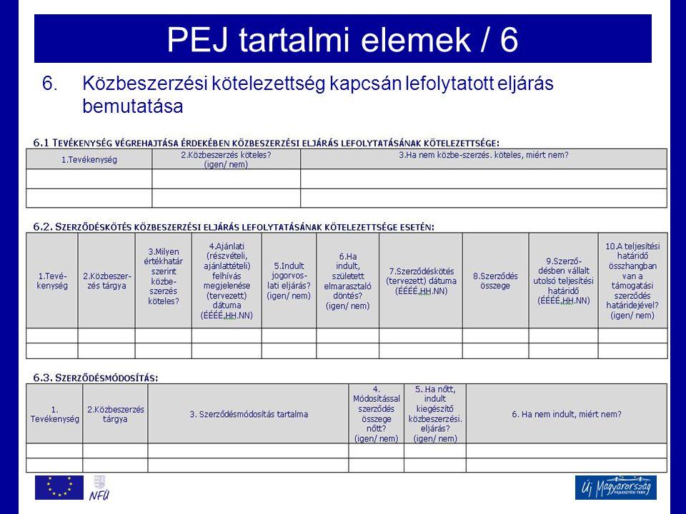 PEJ tartalmi elemek / 6 6.Közbeszerzési kötelezettség kapcsán lefolytatott eljárás bemutatása