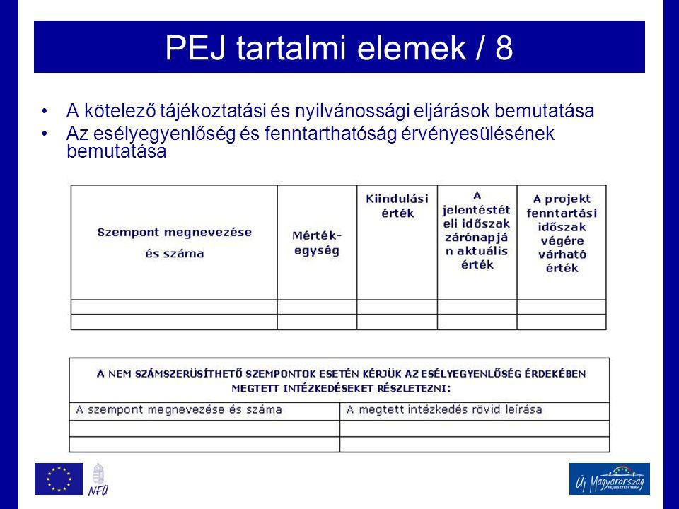 PEJ tartalmi elemek / 8 •A kötelező tájékoztatási és nyilvánossági eljárások bemutatása •Az esélyegyenlőség és fenntarthatóság érvényesülésének bemutatása