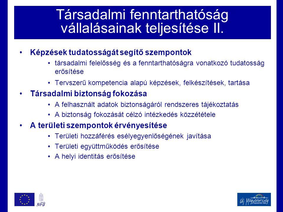 Társadalmi fenntarthatóság vállalásainak teljesítése II.