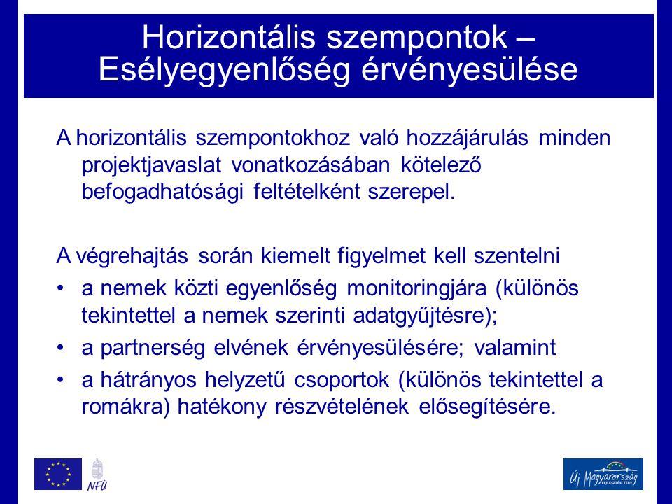Horizontális szempontok – Esélyegyenlőség érvényesülése A horizontális szempontokhoz való hozzájárulás minden projektjavaslat vonatkozásában kötelező befogadhatósági feltételként szerepel.