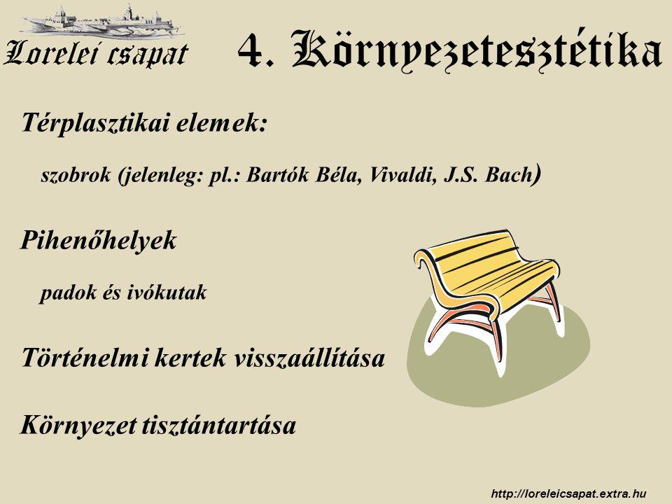 http://loreleicsapat.extra.hu 4. Környezetesztétika Térplasztikai elemek: szobrok (jelenleg: pl.: Bartók Béla, Vivaldi, J.S. Bach ) Pihenőhelyek padok