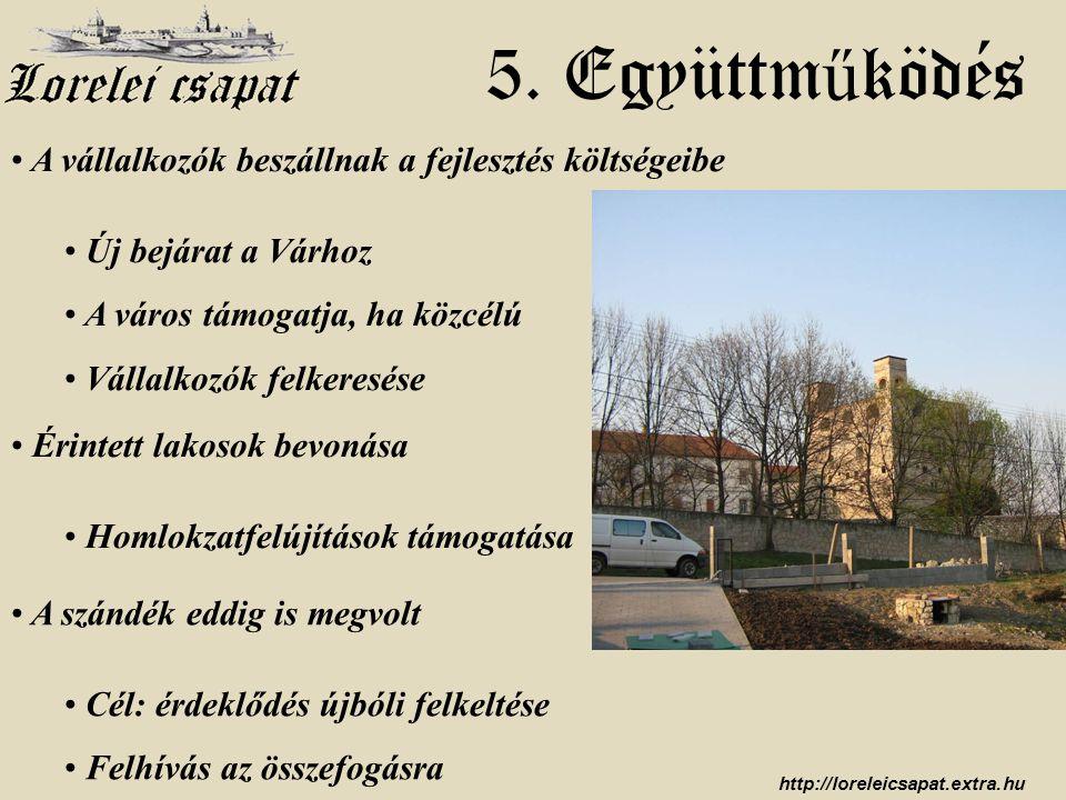 http://loreleicsapat.extra.hu • A vállalkozók beszállnak a fejlesztés költségeibe • Új bejárat a Várhoz • A város támogatja, ha közcélú • Vállalkozók felkeresése 5.