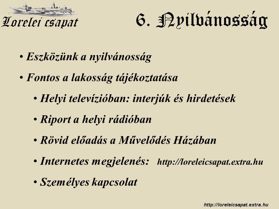 http://loreleicsapat.extra.hu 6. Nyilvánosság • Eszközünk a nyilvánosság • Fontos a lakosság tájékoztatása • Helyi televízióban: interjúk és hirdetése