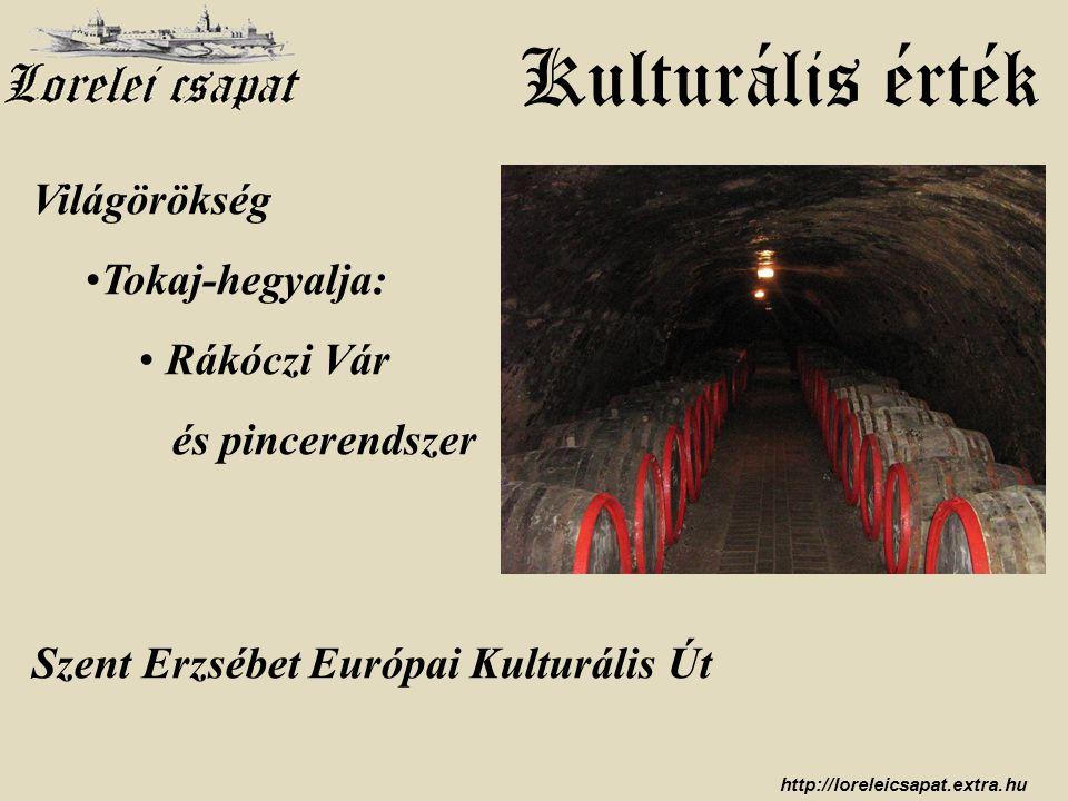 http://loreleicsapat.extra.hu Kulturális érték Világörökség •Tokaj-hegyalja: • Rákóczi Vár és pincerendszer Szent Erzsébet Európai Kulturális Út
