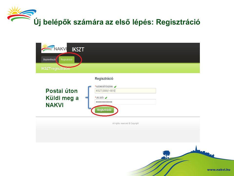Új belépők számára az első lépés: Regisztráció Postai úton Küldi meg a NAKVI
