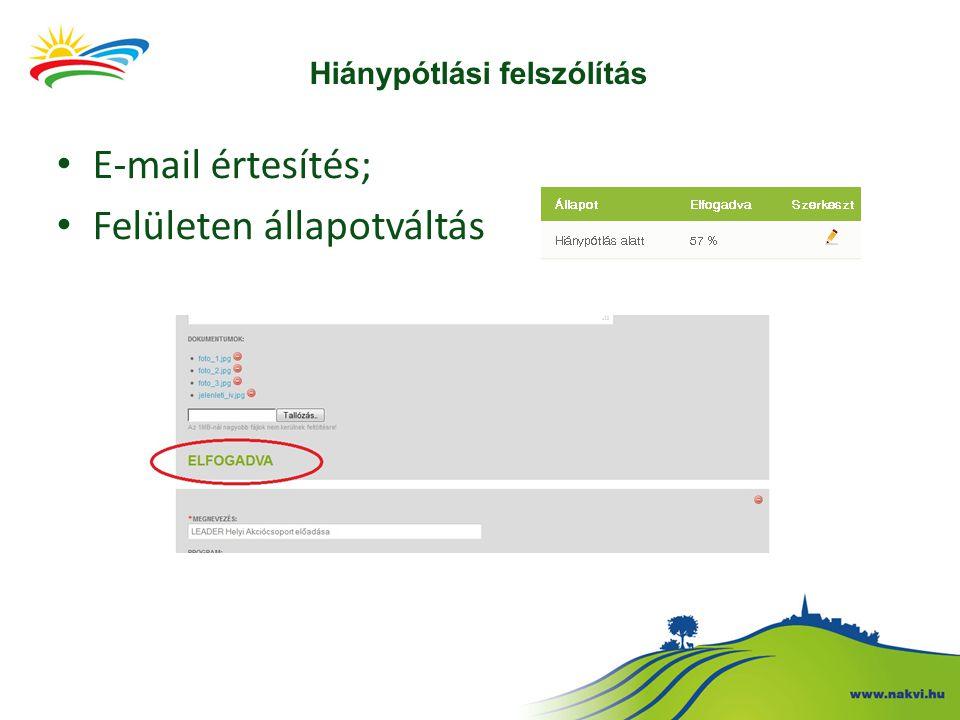 Hiánypótlási felszólítás • E-mail értesítés; • Felületen állapotváltás