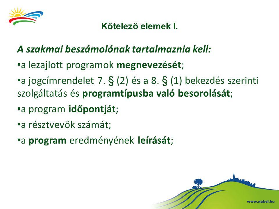 Kötelező elemek II.