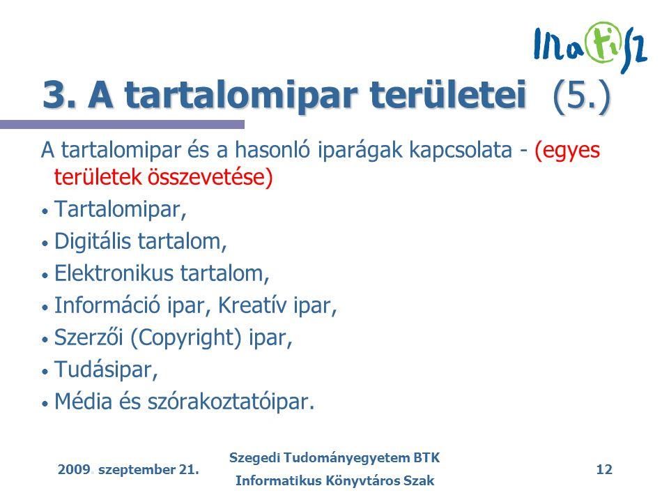 2009. szeptember 21. Szegedi Tudományegyetem BTK Informatikus Könyvtáros Szak 12 3. A tartalomipar területei (5.) A tartalomipar és a hasonló iparágak