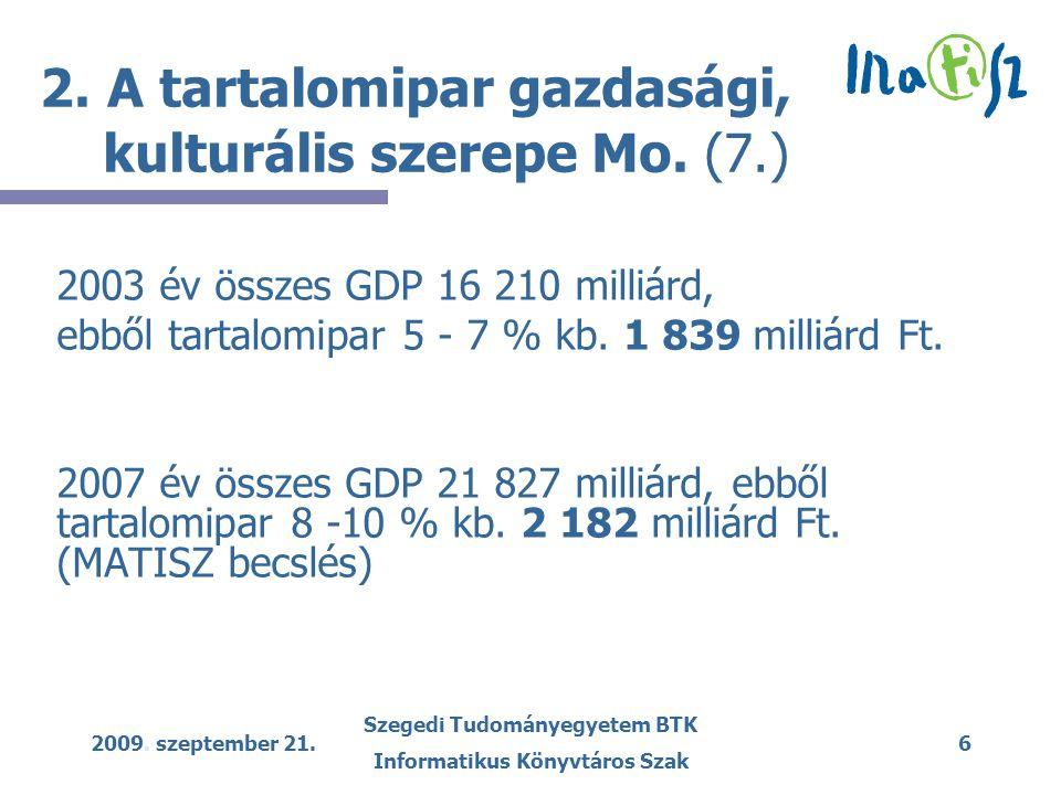 2009. szeptember 21. Szegedi Tudományegyetem BTK Informatikus Könyvtáros Szak 6 2. A tartalomipar gazdasági, kulturális szerepe Mo. (7.) 2003 év össze