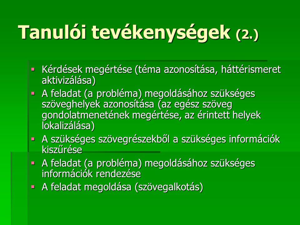 Tanulói tevékenységek (2.)  Kérdések megértése (téma azonosítása, háttérismeret aktivizálása)  A feladat (a probléma) megoldásához szükséges szöveghelyek azonosítása (az egész szöveg gondolatmenetének megértése, az érintett helyek lokalizálása)  A szükséges szövegrészekből a szükséges információk kiszűrése  A feladat (a probléma) megoldásához szükséges információk rendezése  A feladat megoldása (szövegalkotás)