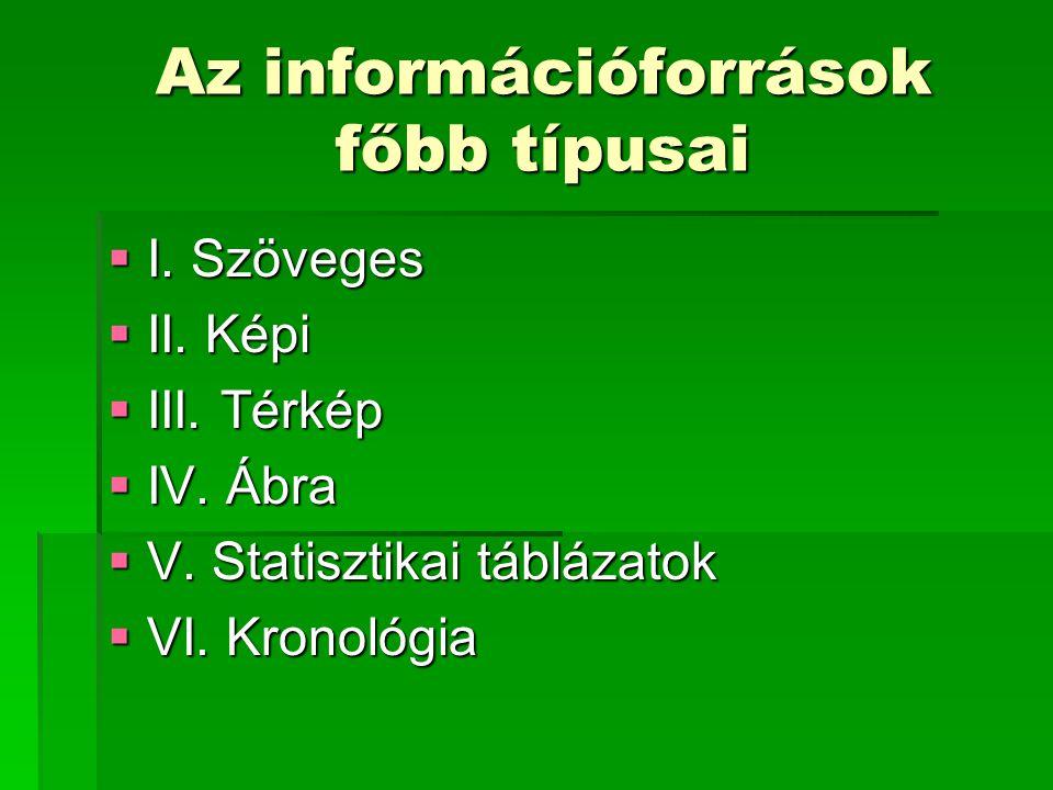 Az információforrások főbb típusai  I. Szöveges  II.
