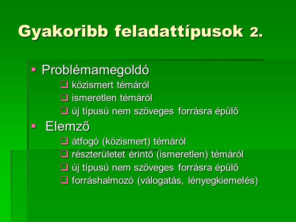 Gyakoribb feladattípusok 2.  Problémamegoldó  közismert témáról  ismeretlen témáról  új típusú nem szöveges forrásra épülő  Elemző  átfogó (közi